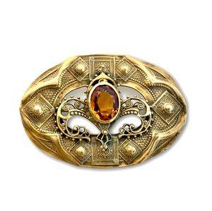 Antique Art Nouveau Gilt Brass Amber Sash Pin
